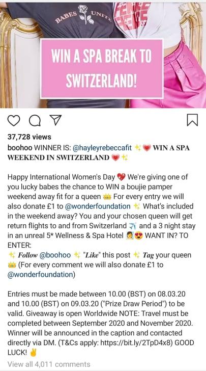boohoo instagram contest