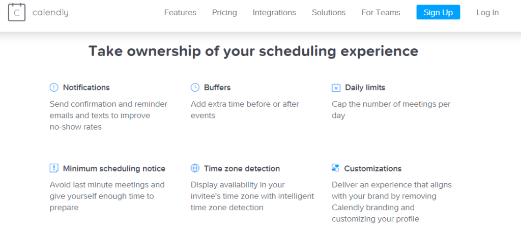 calendly saas product landing page