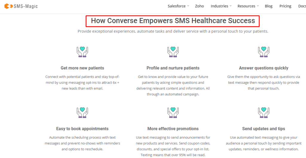 features page for healthcare
