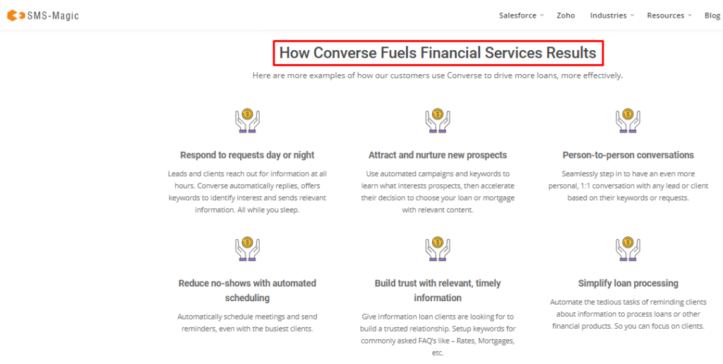 features page for financial institutions