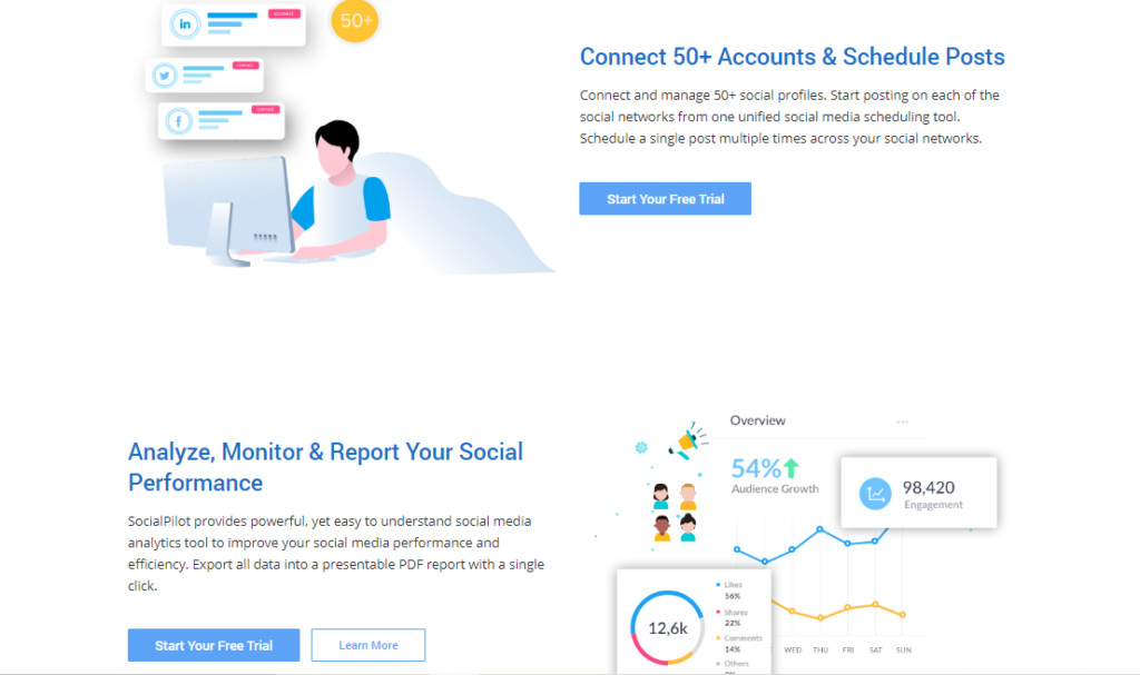 social pilot saas product page