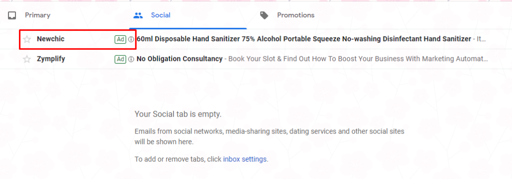 ecommerce ad on gmail