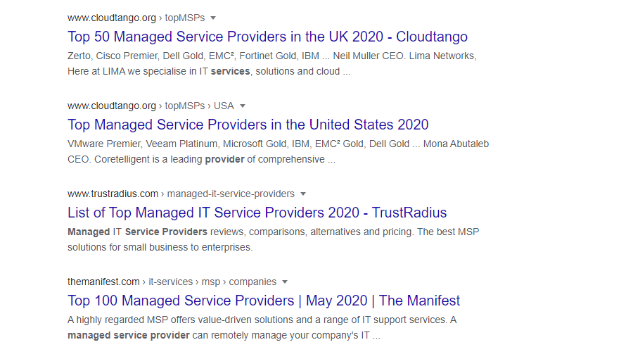 list of it managed service providers