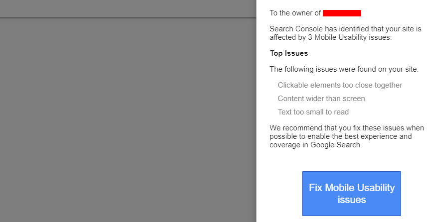 notification from Google on SEO problems