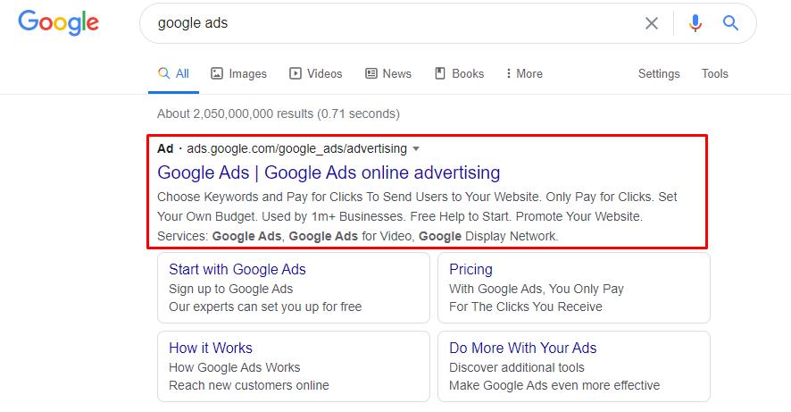 standard search ad