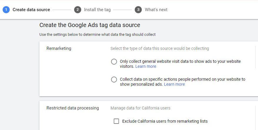 create the google ads tag data source